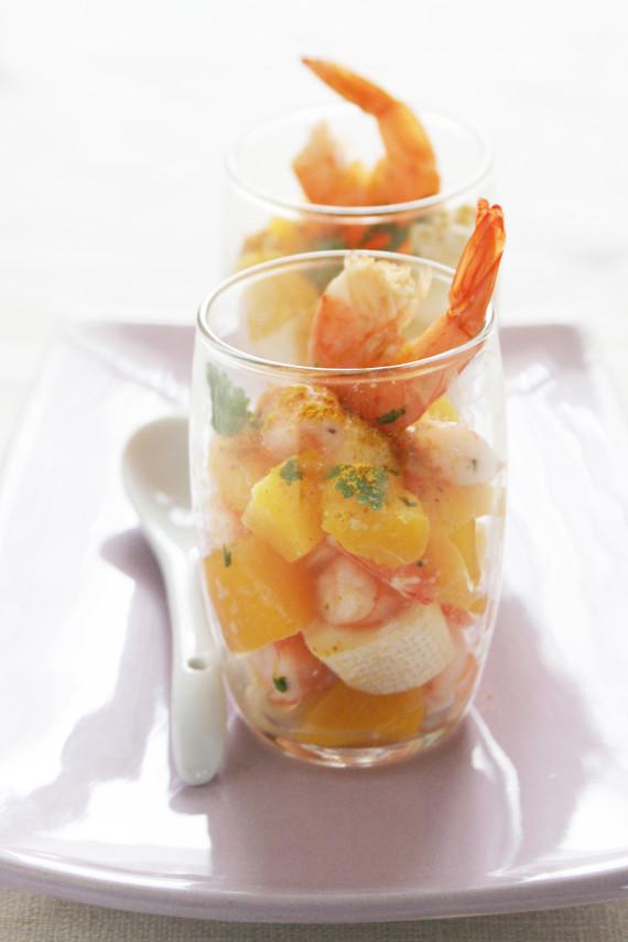 """Petit camembert and prawn exotic """"verrine"""""""