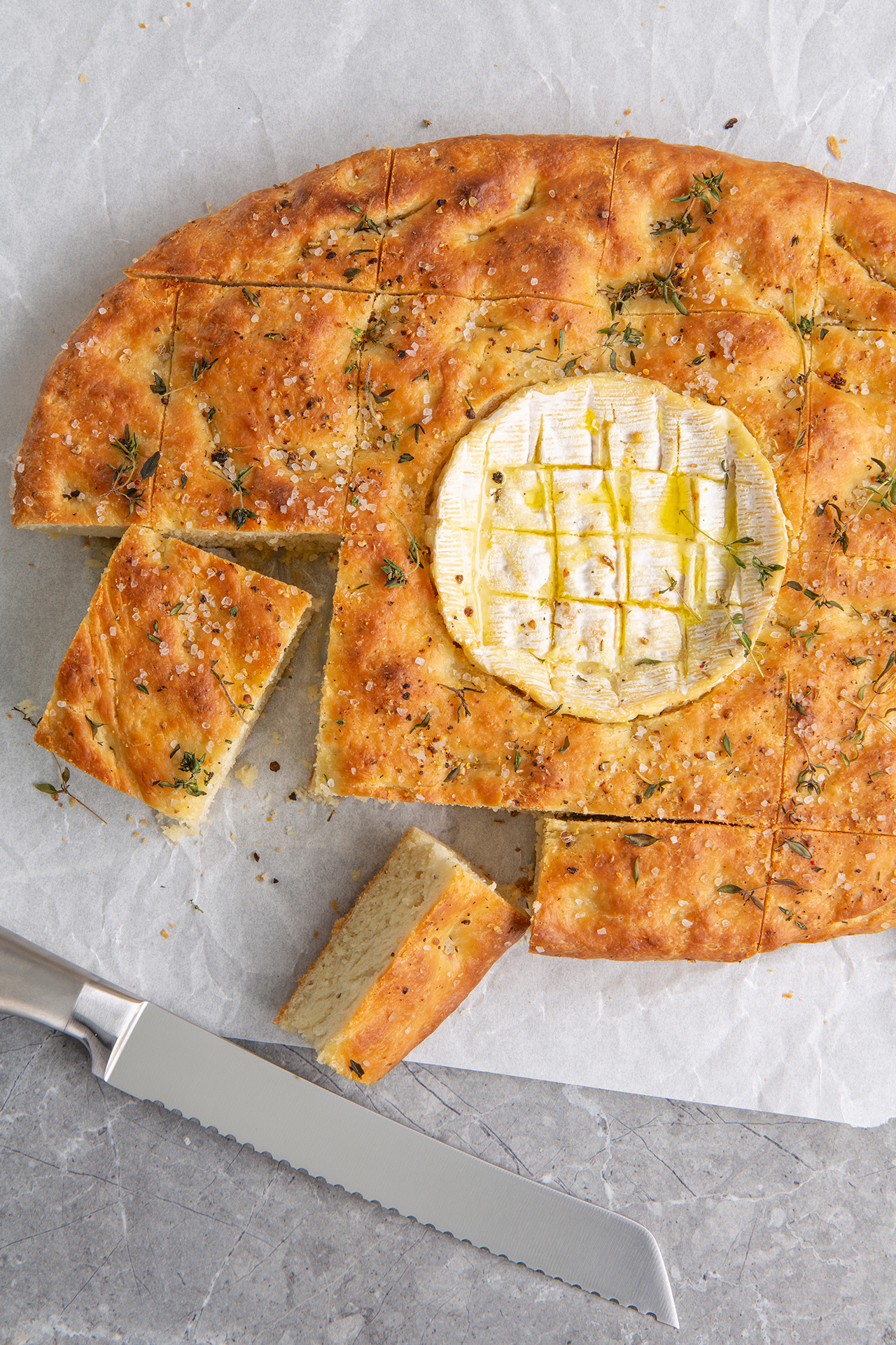 French style focaccia with Camembert
