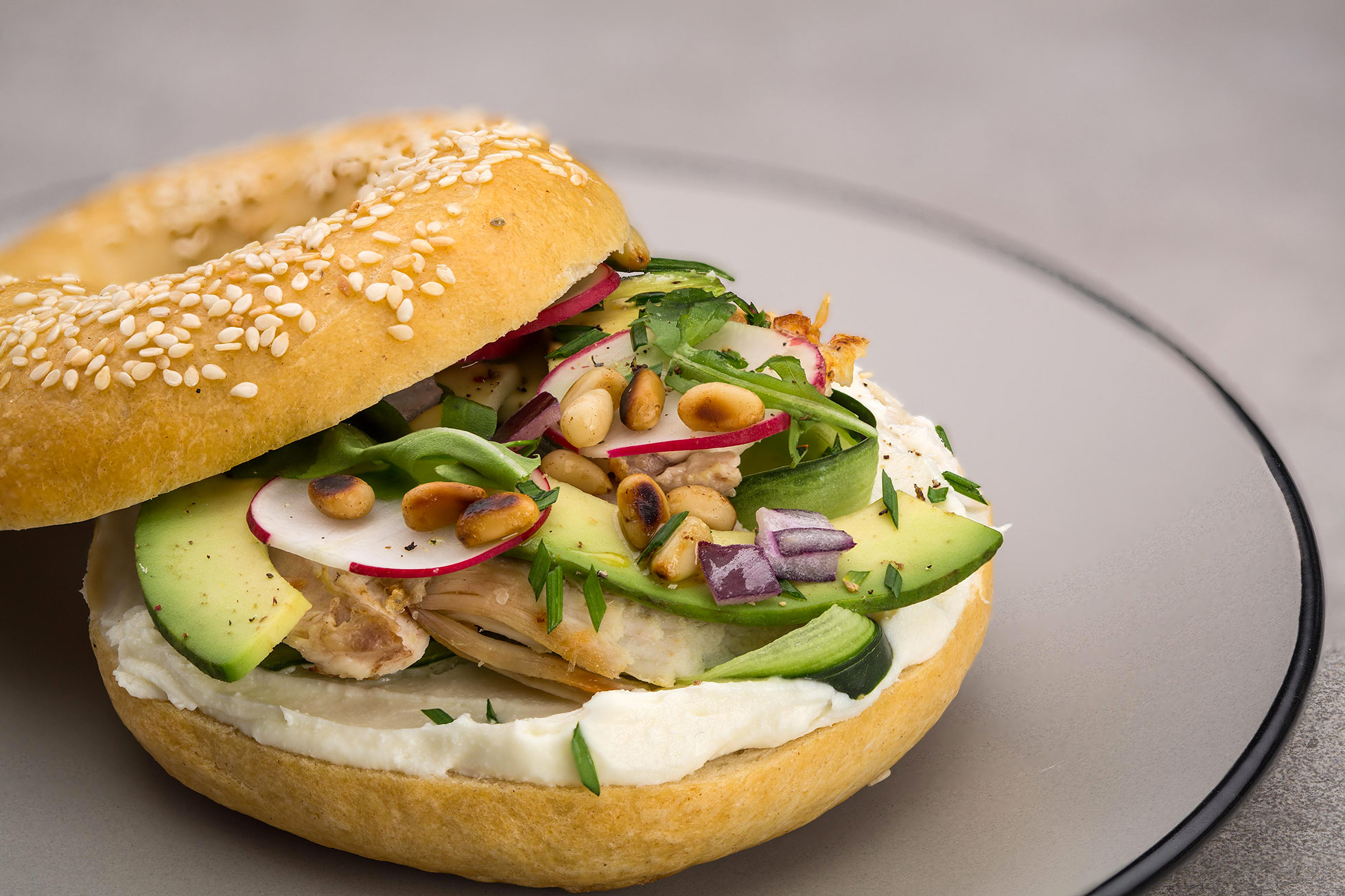 Spring bagel with Ile de France goat cheese
