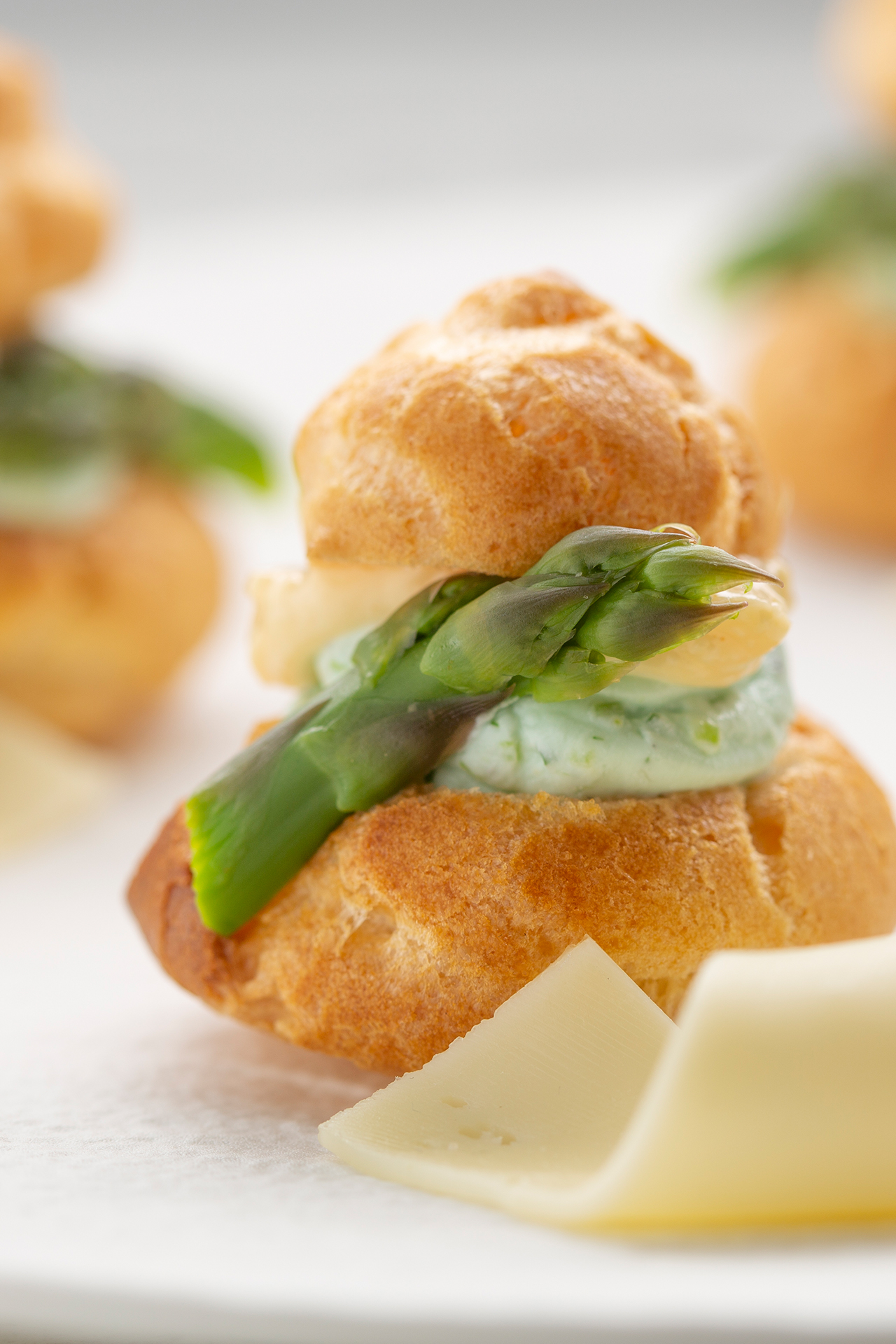 Asparagus and Normantal cheese religieuse
