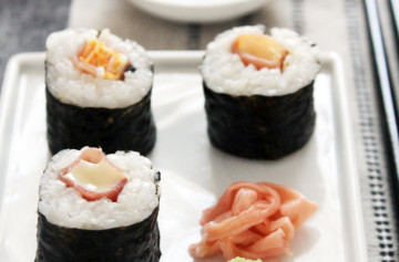 Petit Brie and cured ham maki