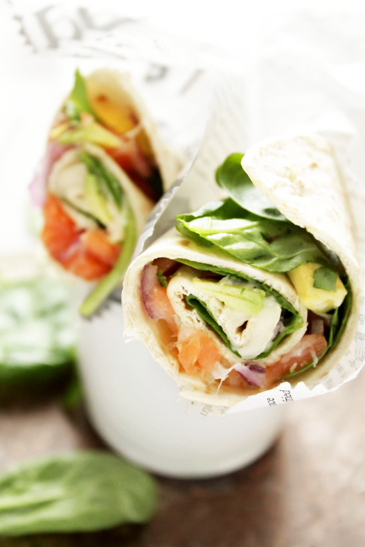 Brie, salmon and avocado wrap style