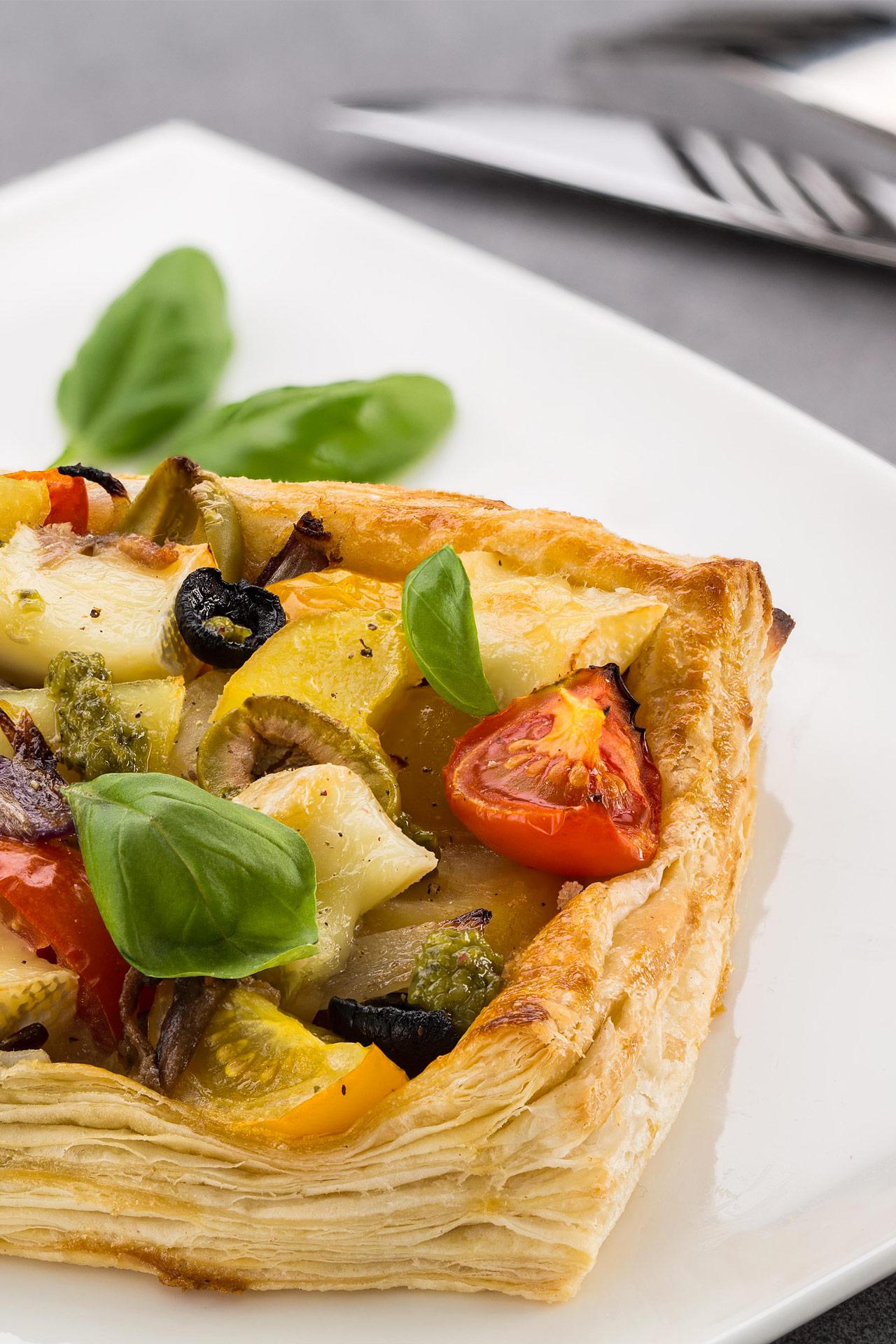 Mediterranean tart with Petit Camembert