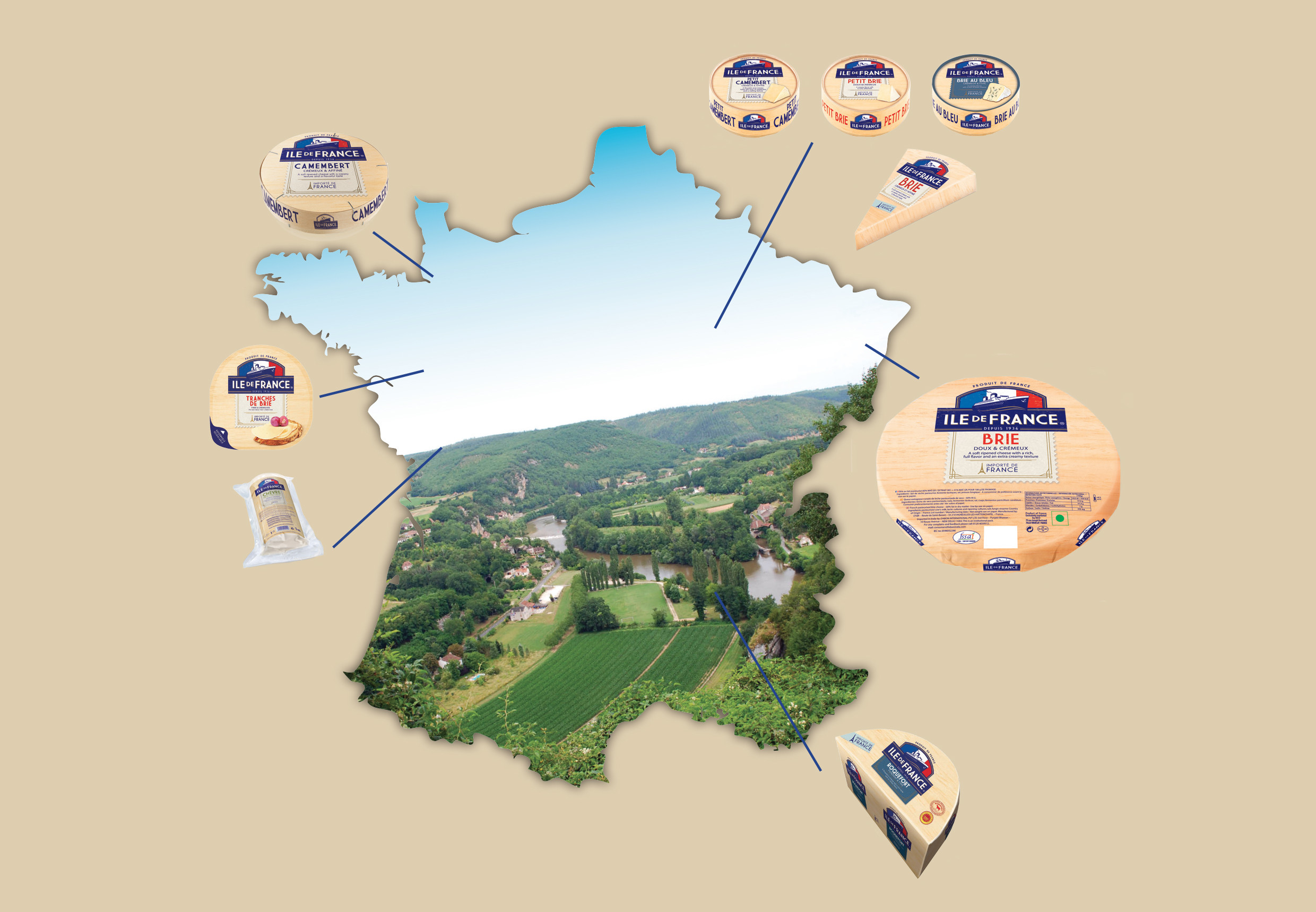 map of france with cheeses