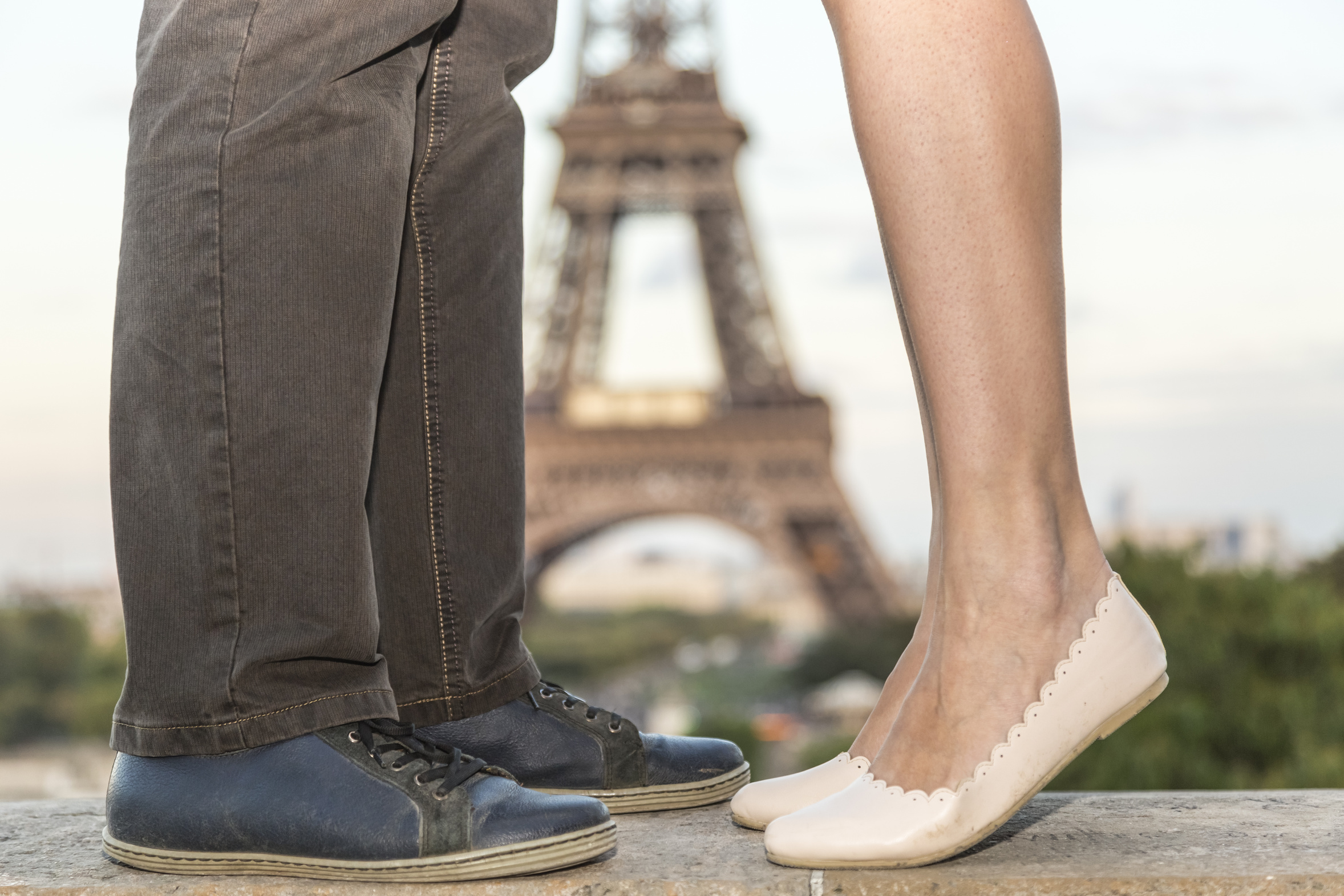 Feet of a couple in Paris