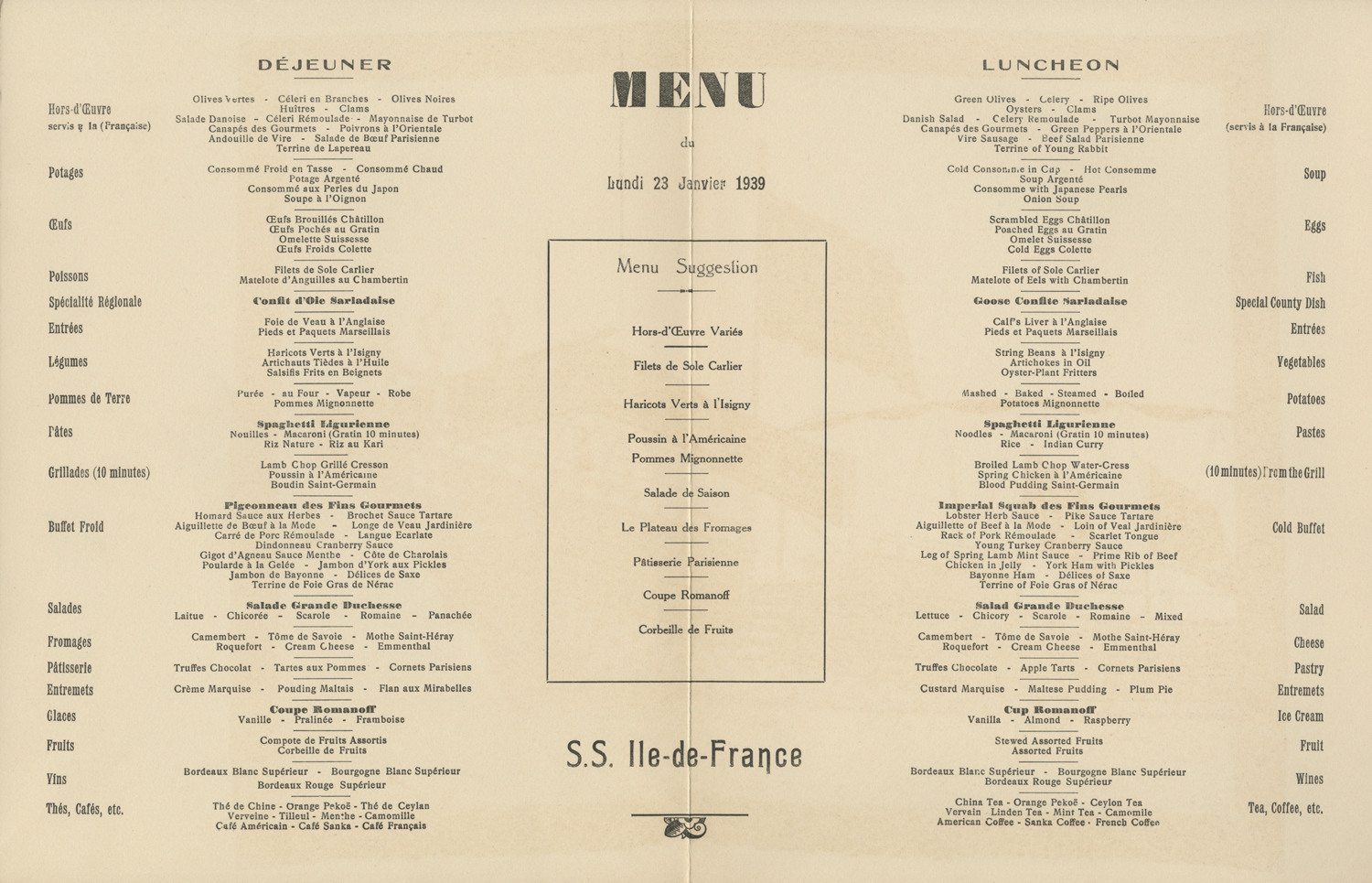 Menu of a restaurant