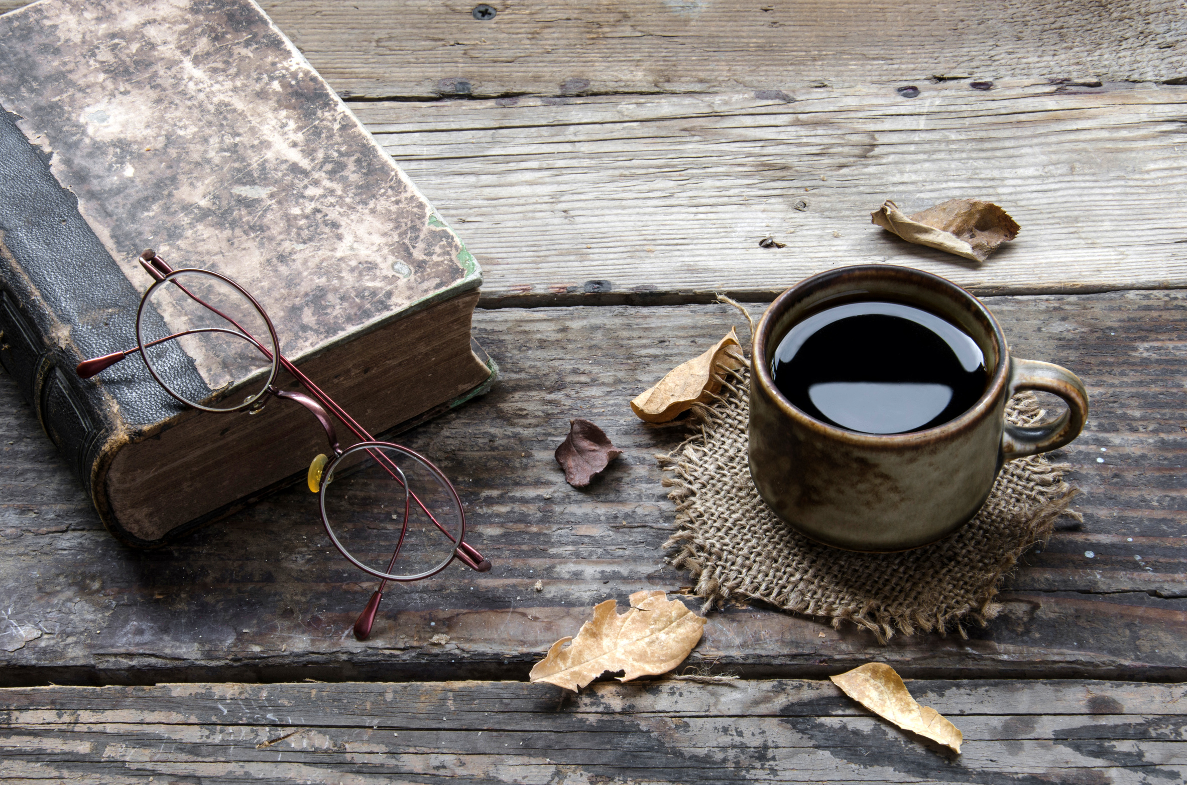 A book and a coffee
