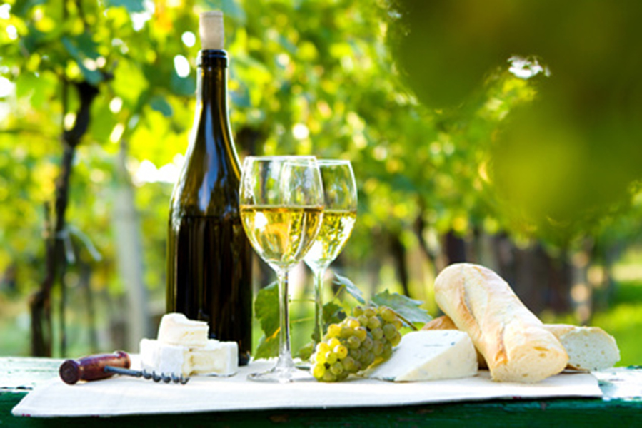 Wine and cheeses