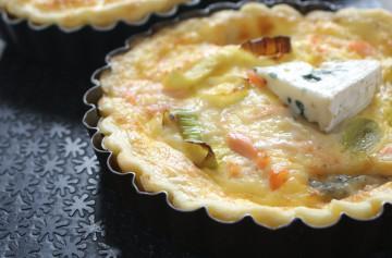 Brie au bleu, salmon and leek fondant tart